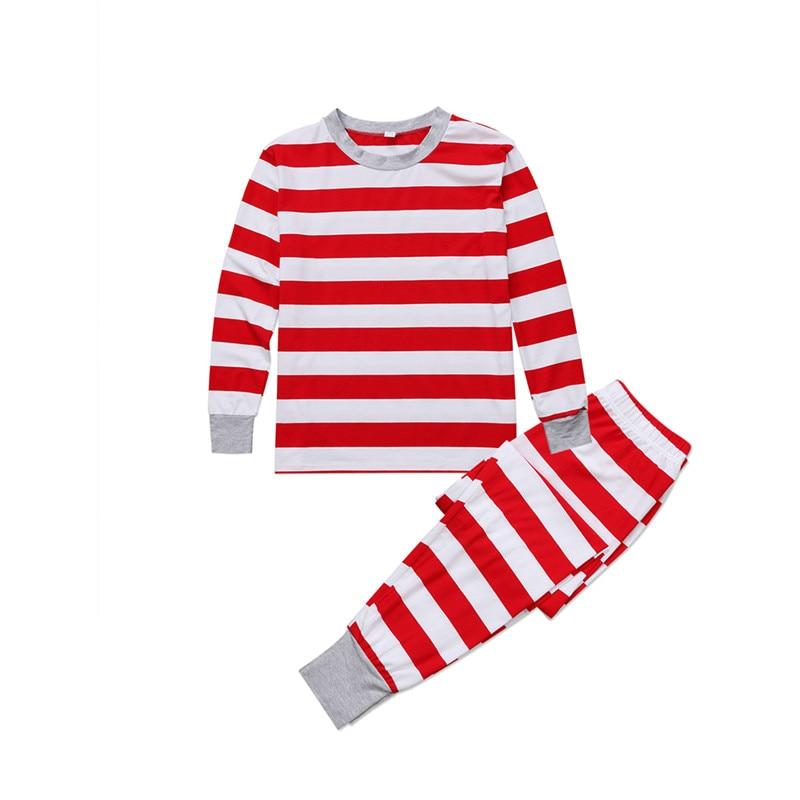 Heißer Verkauf Familie Pyjamas Set Mode Herbst Weihnachten Kleidung Mama Papa Kinder Junge Mädchen Gestreiften Casual Tops Hosen Nachtwäsche 2018 2 Stücke GroßE Sorten