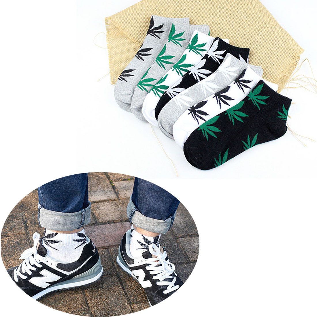 Comfortable Hemp leaf Cotton Youthful Style Men   Socks   Slippers Short Ankle   Socks   Fancinating Ankle   Socks   2019 Fashion New