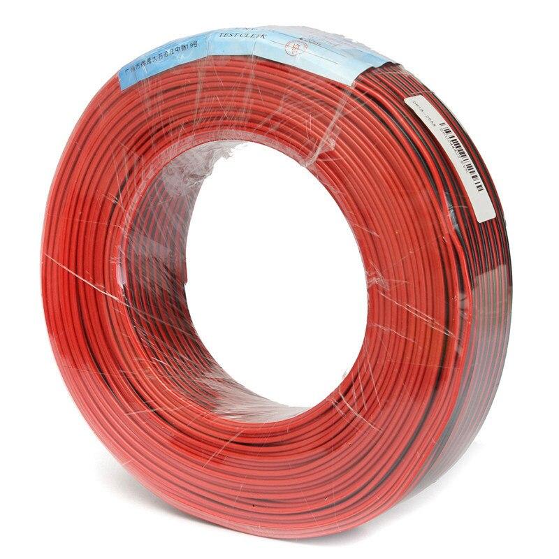 CLAITE 100M Pure Copper Audio Wire Fine Diameter Core Red Black Speaker Cable Home Stereo HiFi Car Audio System
