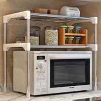 2 Layers Stainless Steel Rack for Bathroom Kitchen Microwave Oven Storage Shelf Metal Desktop Table Book Organizer Shelves
