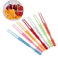 80 шт Пластик Еда фрукты выбирает одноразовые, для капкейков вилки Закуска Выбирает Коктейльные Вечерние(красочные