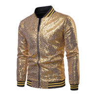 US Cool Mens One Button Glitter Sequined Jacket Coat Wedding Party Club Activities Outwear Handsome Boys Jacket shining Coats