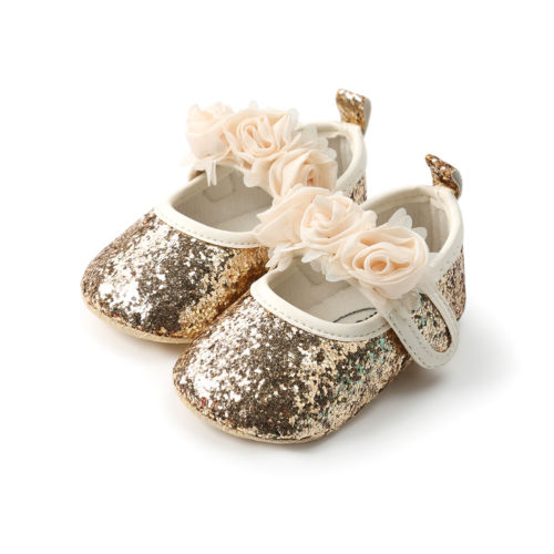 568b619fe8 Aliexpress.com : Buy Newborn Baby Girls Sequin Crib Shoes Pram Soft Sole  Prewalker Anti slip Sneakers Baby Girls 0 18M from Reliable First Walkers  ...