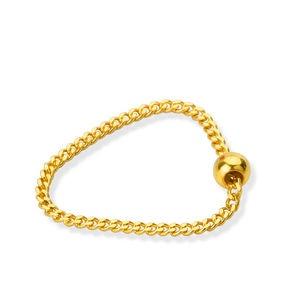 Image 3 - Puro 24K Anello In Oro Giallo Bead con Curb Link Anello Formato: US 5 12