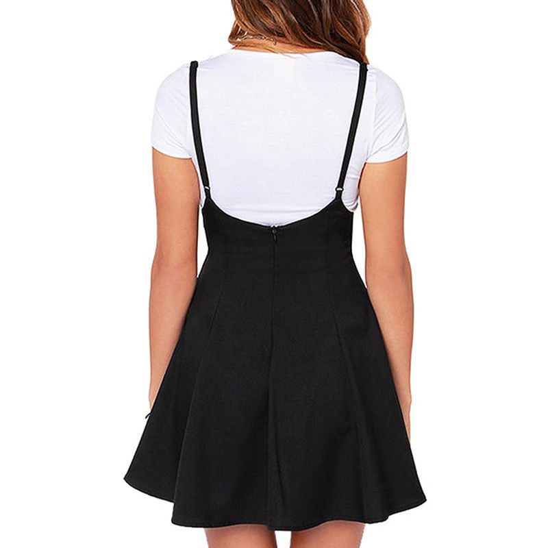 Elegant Women's Ladies Sexy Strappy Black Suspender Skirt Tunic Party Female All-Match Mini Pleated Skater Skirts Plus Size