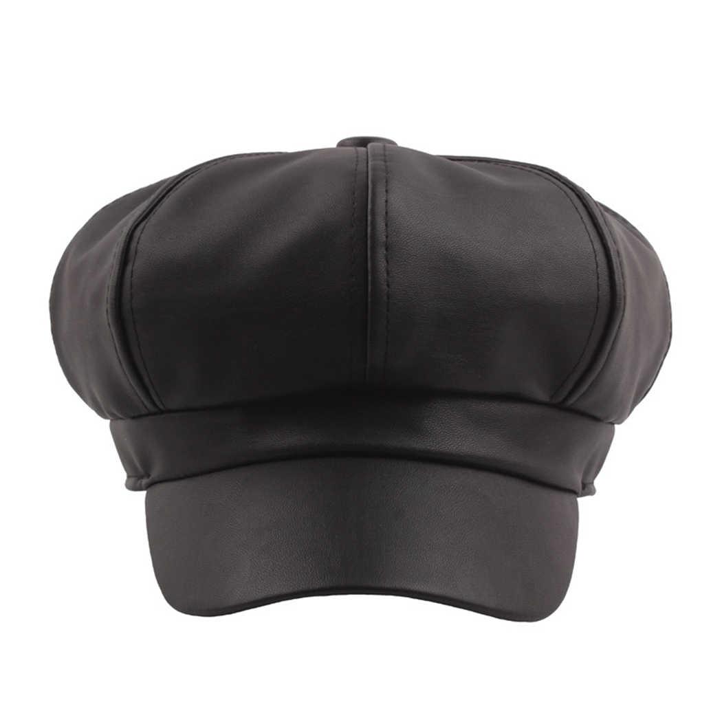 ヴィンテージにソリッドカラーキャスケットキャップ女性ベレー帽ファッション PU 革八角帽子レディースレッドイエローフレンチ帽子画家 Baret