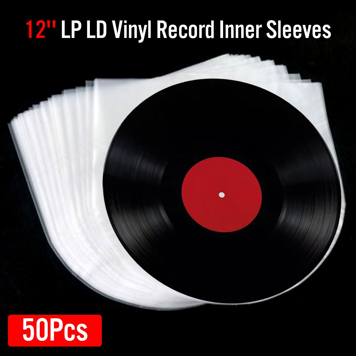 50Pcs 12inch Vinyl Record Protecter LP Record Plastic Bags Anti-static Record Sleeves Outer Inner Plastic Clear Cover Container