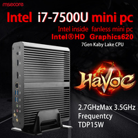 MSECORE I7 7500U Fanless Mini PC Windows 10 Desktop Computer game pc NUC barebone system linux intel HTPC Nettop HD620 300M WiFi