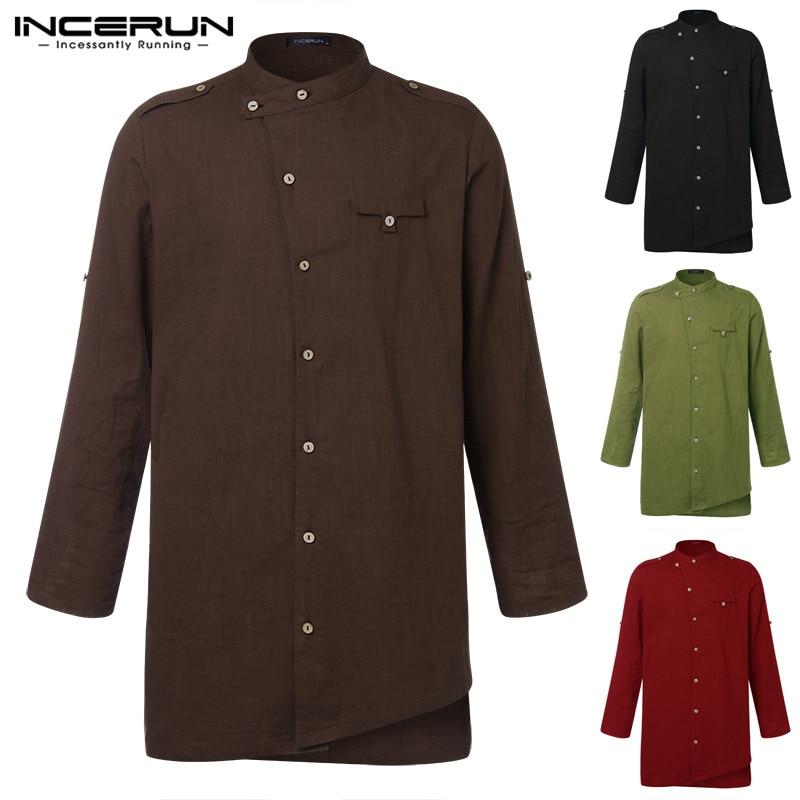 INCERUN Pathani Long Shirt Kurta Suits Men Indian Shirt Long Sleeve Button Fashion Loose Long Robe Kurtas Arab Islamic Clothing