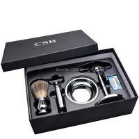 CSB Shaving Set Double Edge Safety Shaving Razor Men Badger Hair Brush Chrome Stand Mug Bowl Soap Kit +10 Free Blades