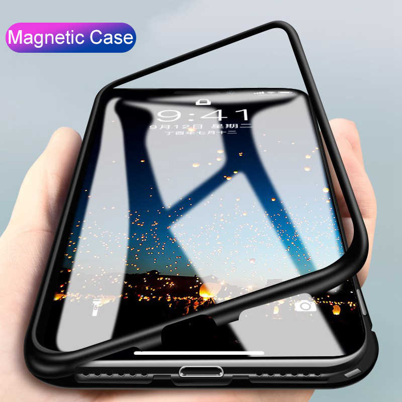 Magnetic Flip Case For Xiaomi Redmi Note 6 5 pro Mi a2 8 lite Pocophone f1 Protective Glass Back Cover Metal Frame Funda Shell