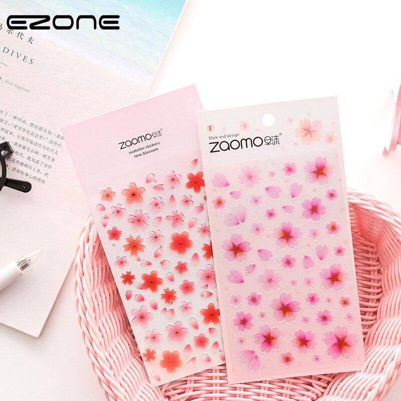 EZONE Fresh Sakura Sticker For Children Scrapbook Album Kawaii Decoration Papers Stationery Sticker School Office Supply