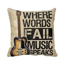 Funda de almohada con palabras musicales cojín de guitarra de lino personalidad Vintage en oferta
