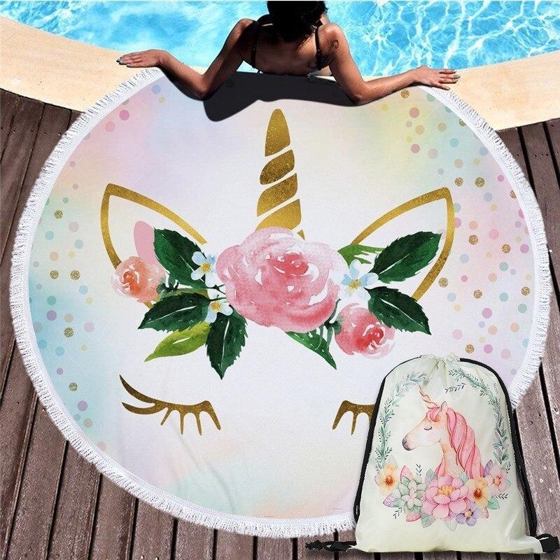 Cartoon Unicorn 150cm Round Beach Towel Wall Tapestry Picnic Blanket Portable Outdoor Sport Storage Bag Bundle