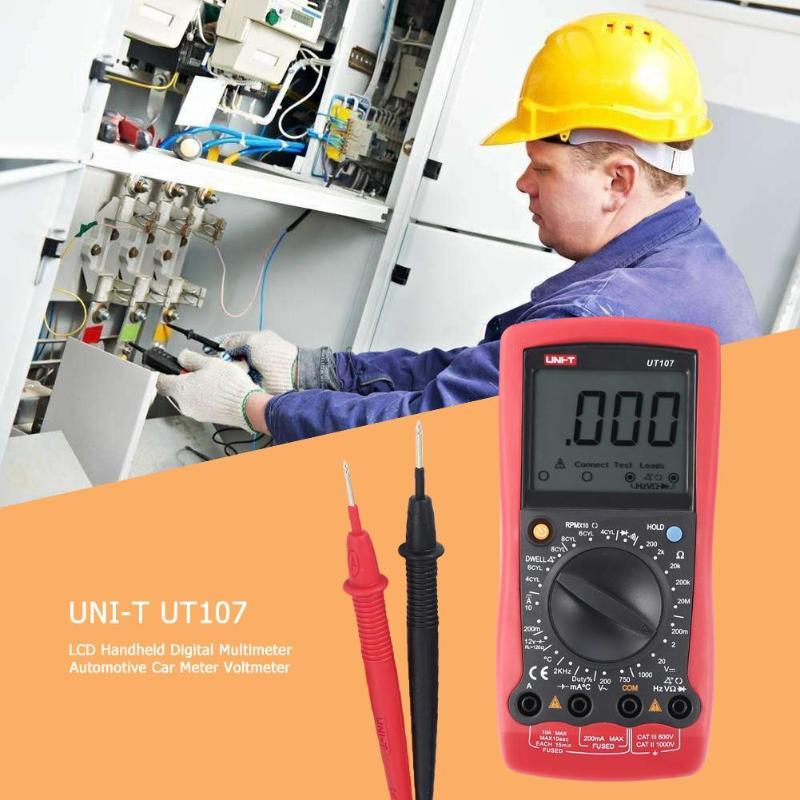 UNI-T UT107 LCD multimètre numérique portable automobile voiture compteur AC DC voltmètre testeur de courant tension Instrument - 2