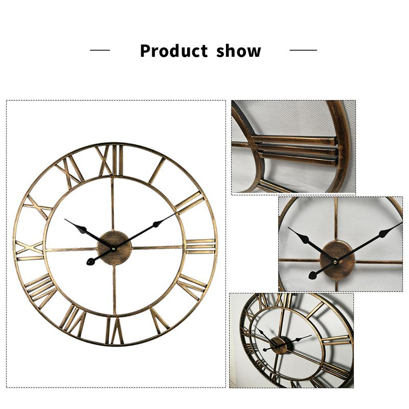 Creative Modern Loft Cafe Iron Pendant Clock Silent Retro 16 Inch Diameter Metal Roman Numerals Big Wall Clock Room Home Decor