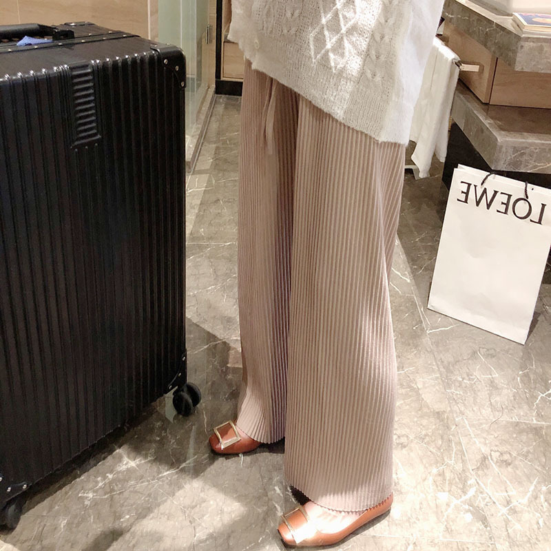 Mooirue Summer Knit Pantalon Woman Work OLKnitting Trousers Beige Black   Wide     Leg     Pants   Women Bottom