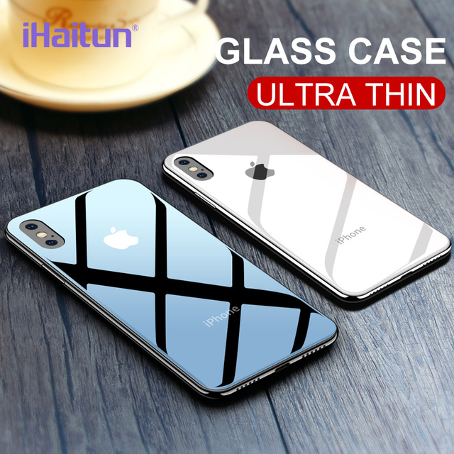 on sale e12f2 d2894 US $4.99 60% OFF|iHaitun Glossy Glass Case For iPhone X XS MAX XR Cases  Ultra Thin Transparent Back Cover Case For iPhone XS 7 8 X Slim Soft  Edge-in ...