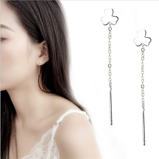 Clover Lucky Cute Dangle Drop Earrings Charm 925 Sterling Silver Fine Jewelry Long Tassel Link Chain Wave Chain For Women