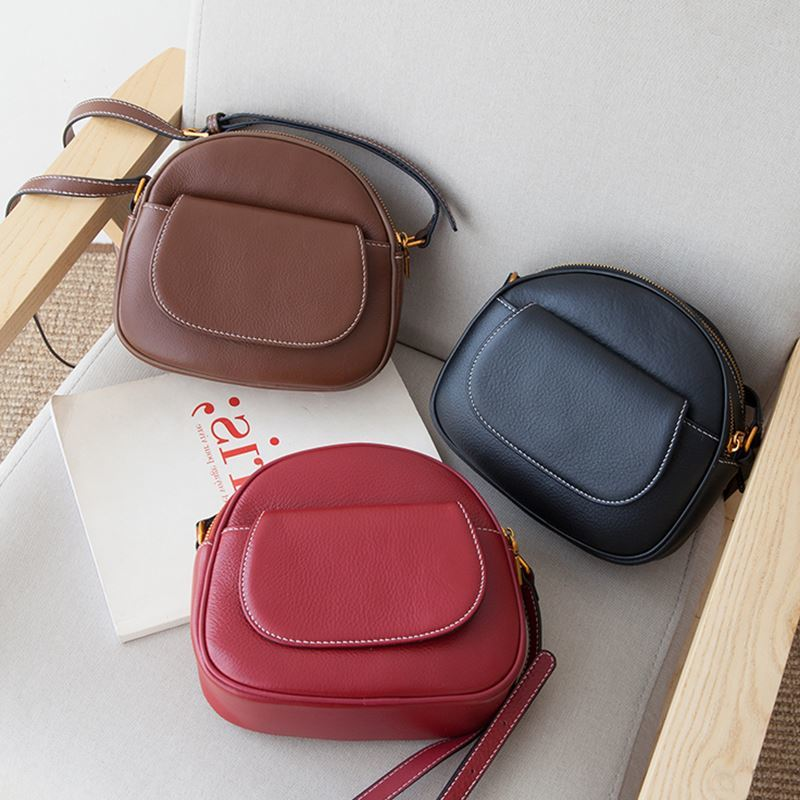 100 Genuine Leather Women Messenger Purse Casual Flap Classic Brown Lady Shoulder Crossbody Bag Black Super