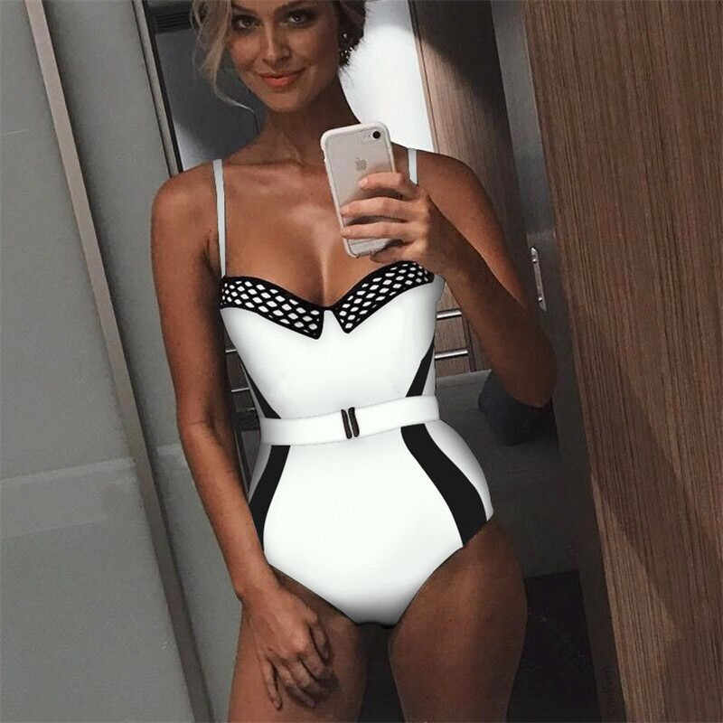 Fashion Casual Slim Print Women One-Piece Deep V-neck Padded Bra Bikini Swimwear Bathing Suit Summer Clothes For Girls