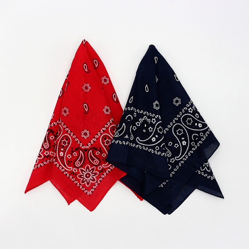 Red Navy Paisley Cotton Bandana Hiphop Men Headband Pocket Square Scarves Women Handkerchief Headwear