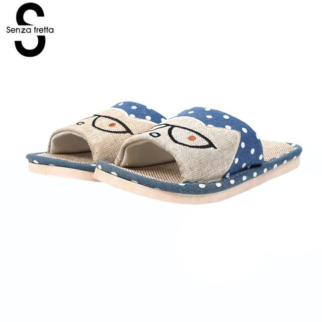 a8bdfe170 Senza Fretta Women Home Linen Men Slippers 2 Color No Noise Flip Flops  Massage Casual Man Sandals Fashion Indoor Outdoor Shoes