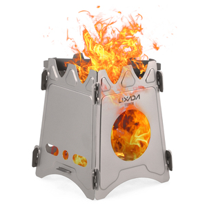 Image 5 - Lixada Outdoor Compact Folding Titanium Wood Stove Portable Ultralight for Camping Cooking Picnic Travel with Mini Alcohol Stove