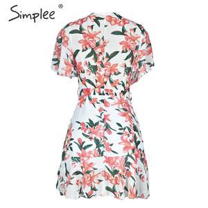 Image 5 - Simplee Boho çiçek baskı kadın artı boyutu kısa elbise Sashes fırfır tatil mini plaj elbiseleri Yaz zarif beyaz sundress