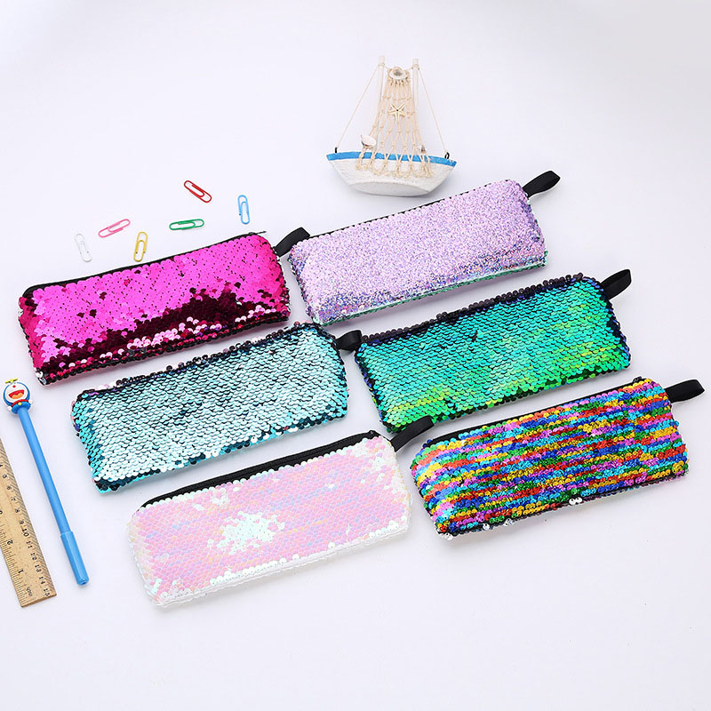 Novelty Glitter Pencil Case Colorful Mermaid Sequins Pencil Bags Girls Gift Pencil Box Kawaii School Office Stationery Supplies