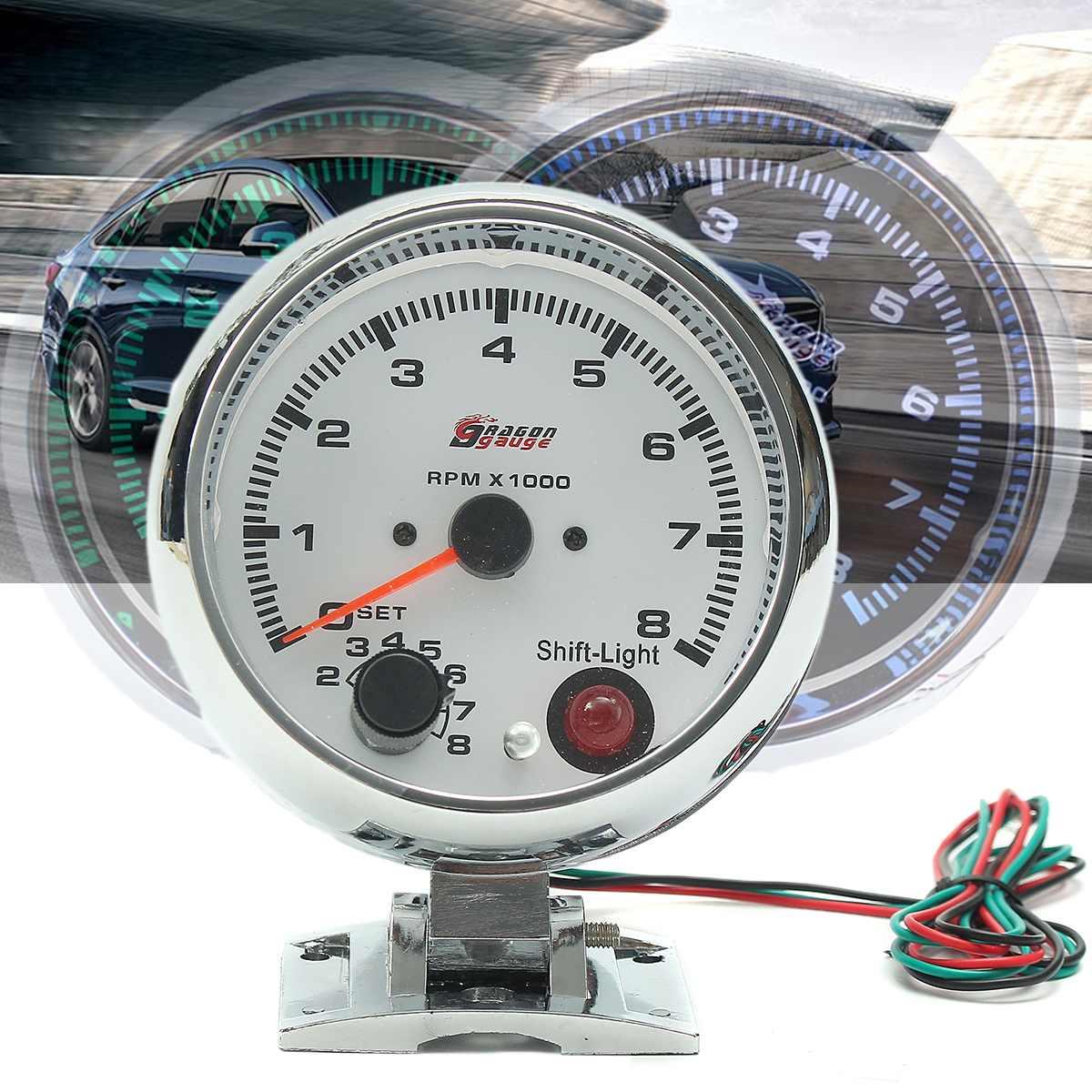 D DOLITY Universal Motorcycle LED Digital Display RPM Odometer Tachometer Gauge Fuel Meter 12V