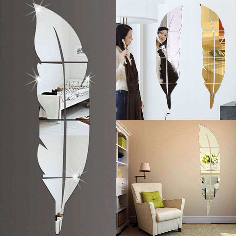 Modern Feather Mirror Removable Decal Art Mural Wall Sticker Room DIY Decor Hot