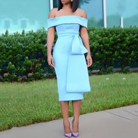Elegant Bodycon Dress Summer Off Shoulder Evening Blue Summer 2019 Patchwork Fashion High Waist Business African Midi Dresses