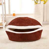 3 colour Washable soft Cat nest Comfortable Dog kennel pet bed Burger shell house Foldable warm Kennel Polar Nest Sleeping Bag