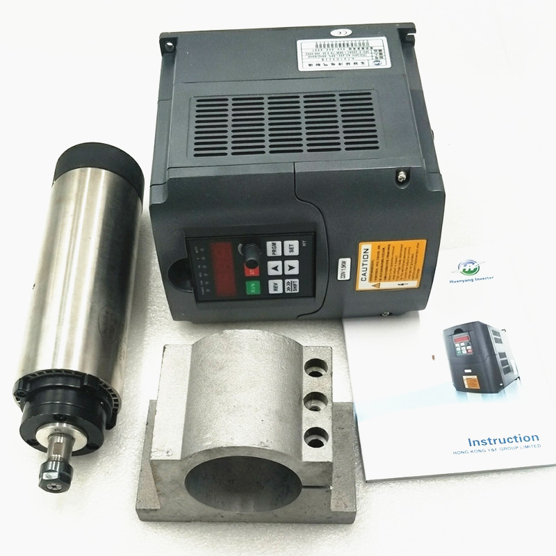 2.2KW Air Cooled <font><b>Spindle</b></font> Kit CNC 2.2KW Machine Tool <font><b>Spindle</b></font> <font><b>Motor</b></font> + <font><b>110v</b></font>/220V/380v inverter + 80mm Clamp + 13pcs ER20 Collet image