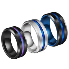Ring Wedding Women Black Titanium Jewelry 8MM For Men Rainbow Groove Rings stainless steel(China)