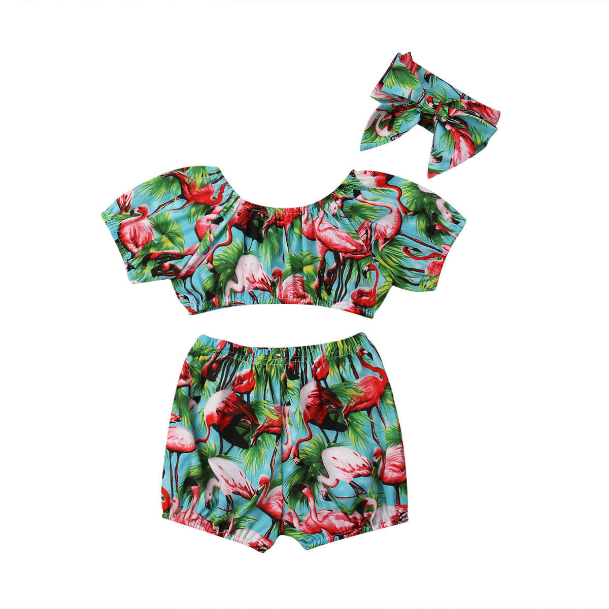 81746e73e148 Detail Feedback Questions about 2019 Summer Toddler Kids Baby Girl Flamingo  Clothes Short Sleeve Tank Tops High Waist Shorts Headband 3PCS Girls  Clothing ...