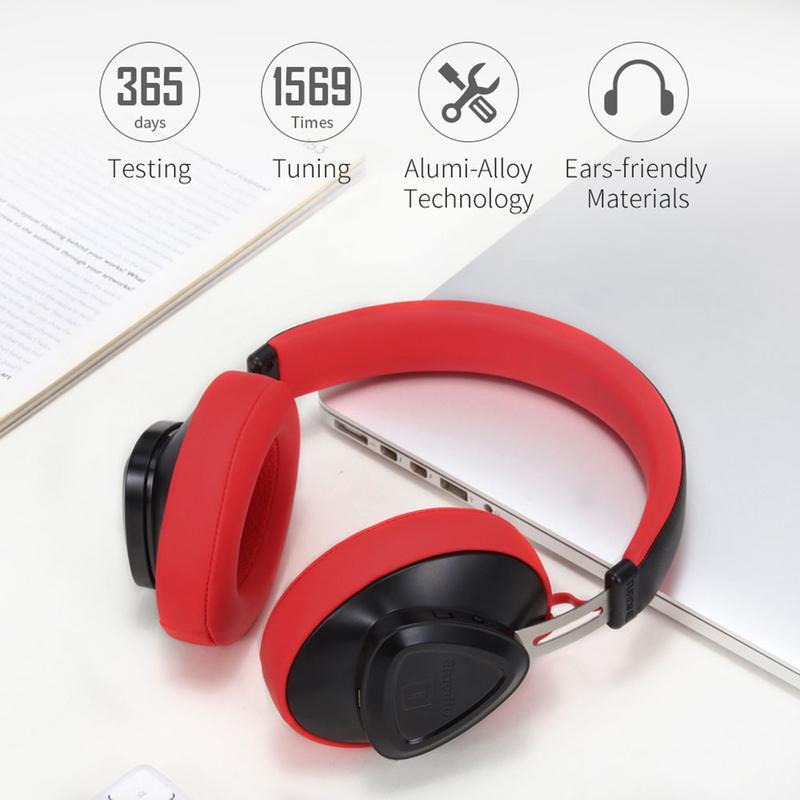 Stringa Blu Tms Cuffia Senza Fili Con Microfono Lungo Stand-by Stereo Auricolare Bluetooth Controllo Vocale Per La Musica E I Telefoni Morbido E Leggero