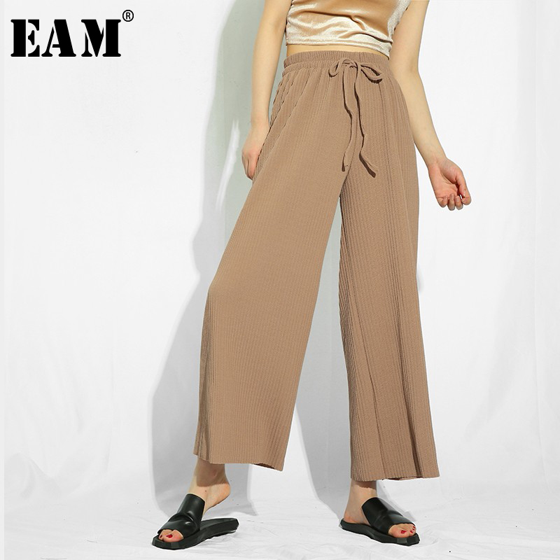 [EAM] 2019 New Spring High Elastic Waist Khaki Loose High Elastic Knitting   Wide     Leg     Pants   Women Trousers Fashion Tide FF91