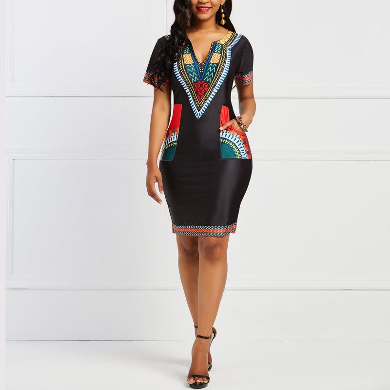 Women Office Dress African Ethnic Print Stylish Brand Summer Black Elegant  Work Wear Casual Pockets Ladies e2daae866323