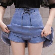 Новинка, летние женские шорты с высокой талией, юбка с зонтиком, большая джинсовая мини-юбка, синяя джинсовая юбка, стиль Saia, джинсы