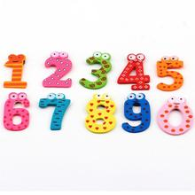10PcsLOT Numbers Cartoon Educational Toy Wooden Fridge Magnet For Kids Message Holder Home Decor Drop Ship #1211