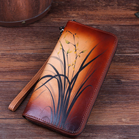High Quality Long Wallets Women Purses Coin Purse Cards Holder Floral Pattern Female Genuine Leather Wallet Clutch Money Bag