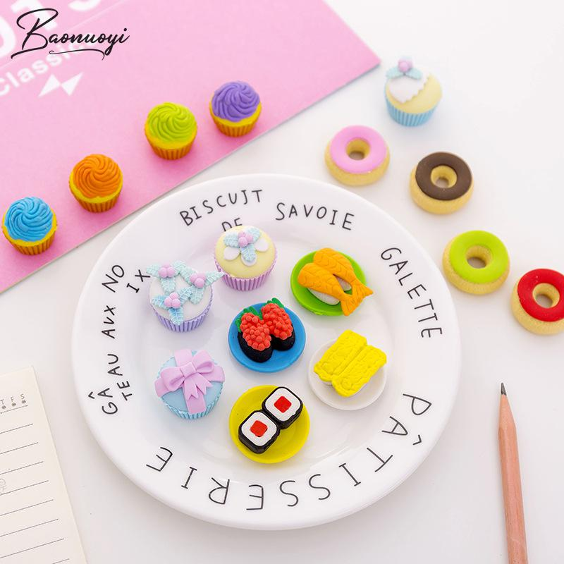 4In1 Sushi Cake Pencil Erasers For Office School Creative Stationery Supplies Kawaii Kids Prize Writing Drawing Student Gift