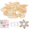 Craft Hollow Leaves Pendant Gold Charm Filigree Jewelry Making Plated Vintage for Hair Comb