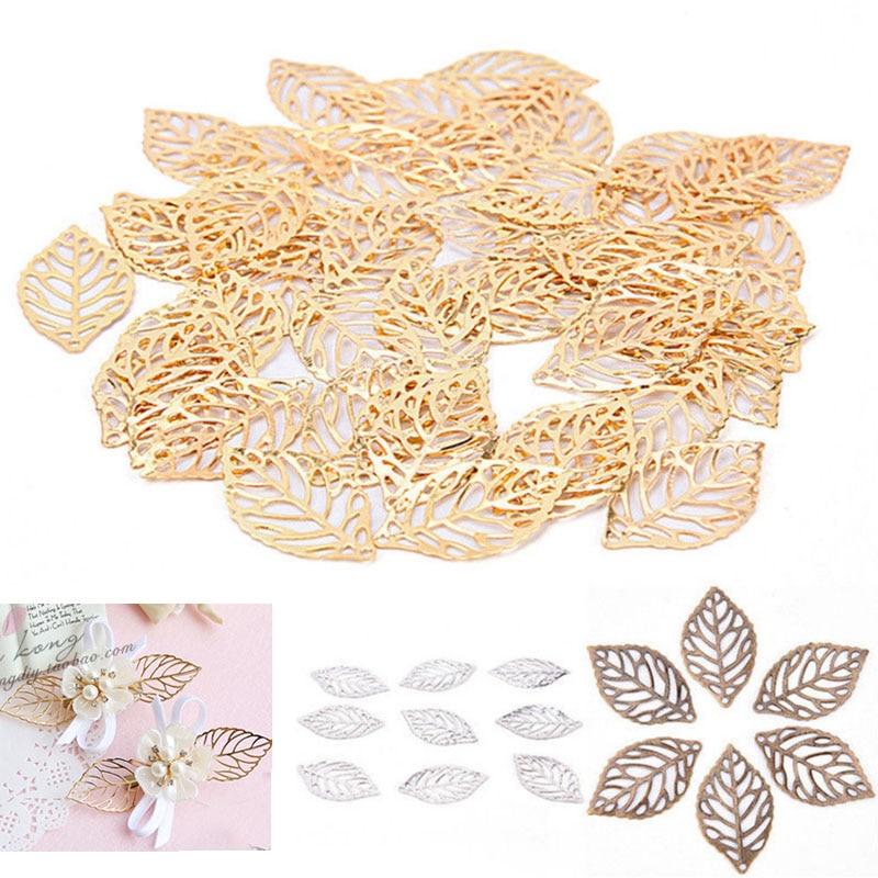 50 pçs artesanato oco folhas pingente jóias acessórios charme ouro filigrana jóias fazendo chapeado vintage para pente de cabelo quente novo