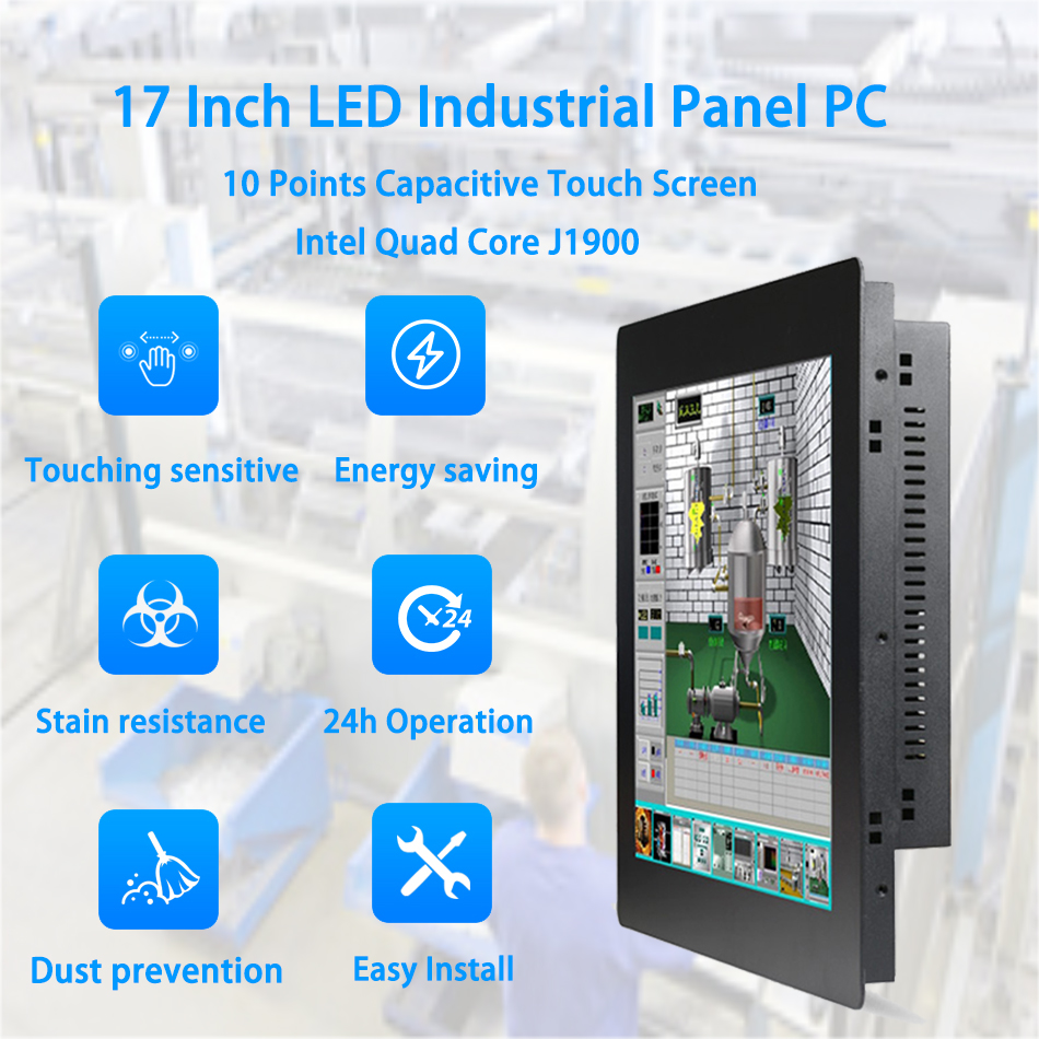 17 Inch LED Panel PC,,Intel J1900,Industrial Panel PC,10 Points Capacitive Touch Screen,Windows 7/10/Linux Ubuntu,[HUNSN DA05W]