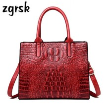 Fashion Alligator Luxury Handbags Women Tote Bags Designer Shoulder Bag Crocodile Pattern Women Genuine Leather Bags Vintage fashion two way designer genuine alligator skin ladies women pink day clutches exotic crocodile leather wristlets card case bag