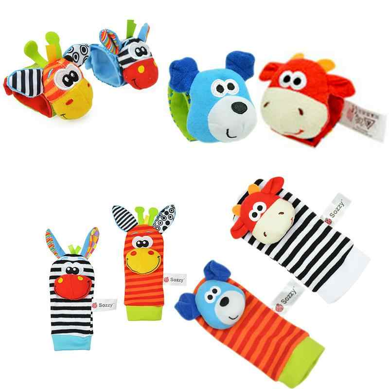 1 Pcs Cute Baby Hand Strap Wrist Bell Foot Sock Rattles Animal Wrist Rattles Cartoon Soft Educational Toys Random Delivery