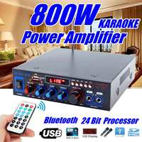 Original HIFI 2 channel 800W Audio Home Amplifier 220V USB Bluetooth Home Theater Amplifiers Audio with Remote Control